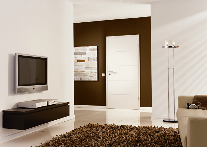 Design door Westaline type 2505 in classic white lacquering (similar to RAL 9010).